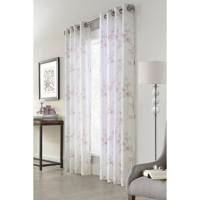"84""x50"" Bloom Floral Printed Light Filtering Window Curtain Panel Off White - Habitat"