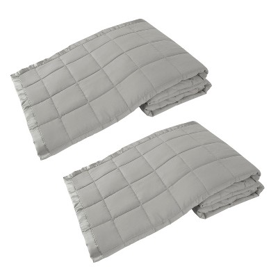 Elite Home 66 x 90 Inch Soft Lightweight Solid Cozy Nights Down Alternative Polyester Throw Blanket for Couch, Sofa, or Bed, Twin, Gray (2 Pack)