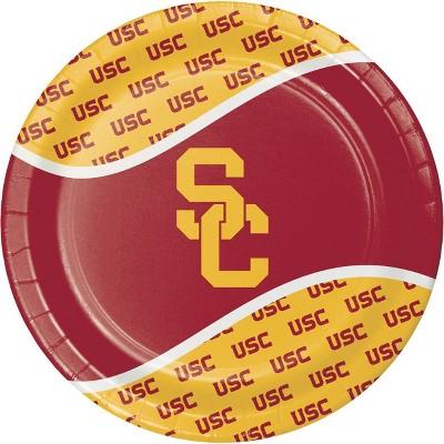 8ct USC Trojans Paper Plates Orange/Red