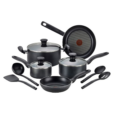 T-Fal 12pc Cookware Set Black
