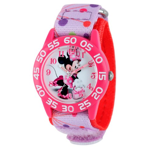 Disney® Girls' Minnie Mouse Plastic Watch - Pink - image 1 of 2