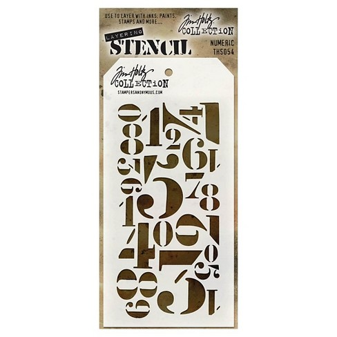 "Tim Holtz Layered Stencil Numeric-White 4.125""x8.5"" - image 1 of 2"