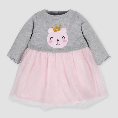 Gerber Baby Girls' Bear Tulle Dress - Gray/Pink 3-6M