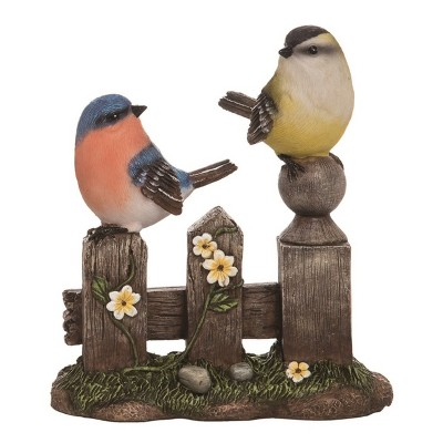 Transpac Resin 8 in. Brown Spring Birds on a Fence Figurine