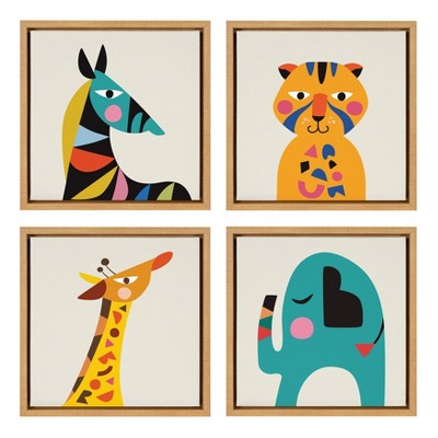 "4pc 13"" x 13"" Sylvie Baby Safari Animal Framed Canvas Wall Art by Rachel Lee Natural - Kate and Laurel"
