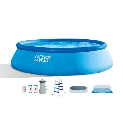 Intex 26165EH 15ft x 42in Above Ground Inflatable Swimming Pool Bundle with Pump, Ladder, Cover, and 5 Pound Bucket of Chlorine Tablets