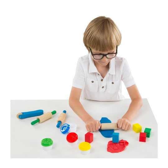 Melissa & Doug Shape, Model, and Mold Clay Activity Set - 4 Tubs of Modeling Dough and Tools image number null