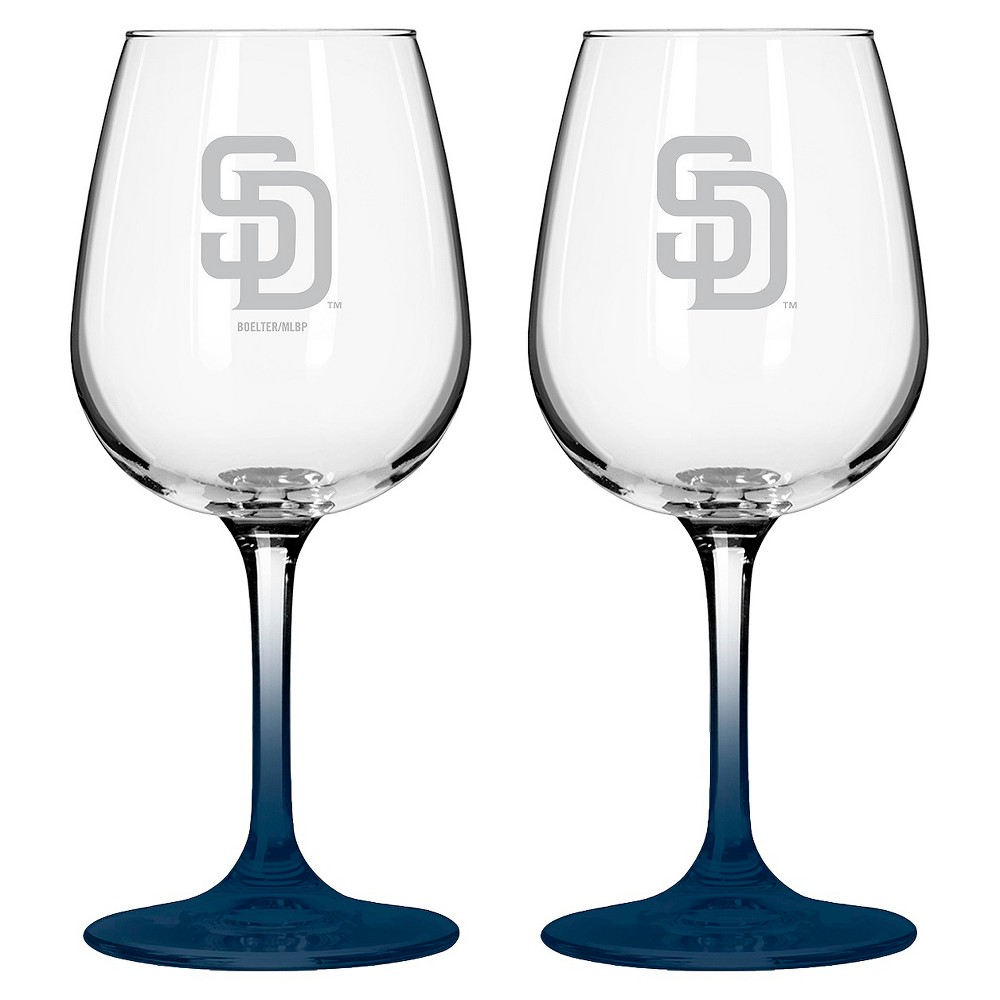 MLB Padres Wine Glass - Set of 2 - 12oz, Multi-Colored