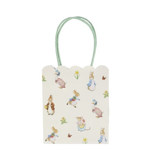 Peter Rabbit Party Bags White with Handles x 10 Happy Birthday Gift Bags