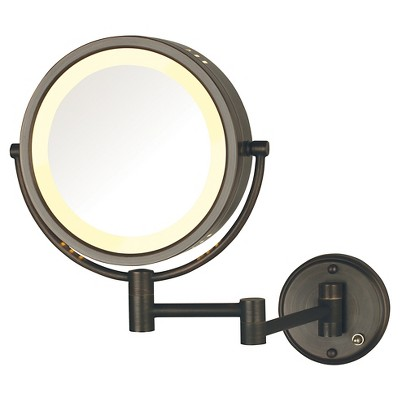 Jerdon 8X-1X Direct Wire Halo Lighted Wall Mount Mirror Extends 13.5  Bronze