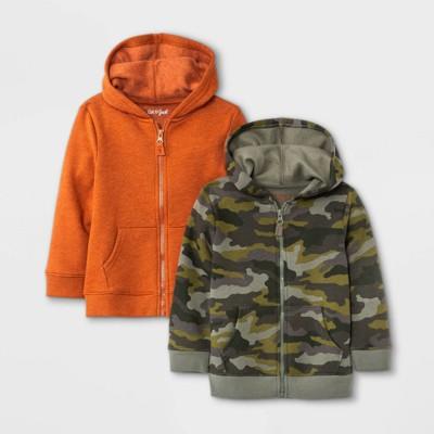 Toddler Boys' 2pk Fleece Zip-Up Hoodie Sweatshirt - Cat & Jack™ Green/Orange