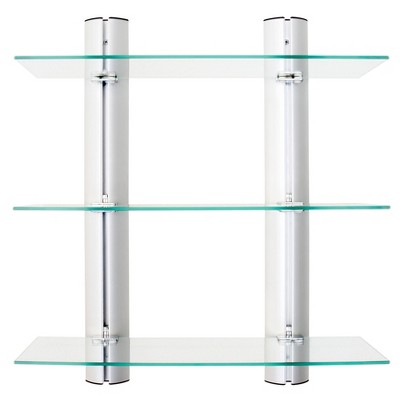 3 Tier Wall Mount Adjustable Glass Shelving Unit with Aluminum Bars - Danya B.