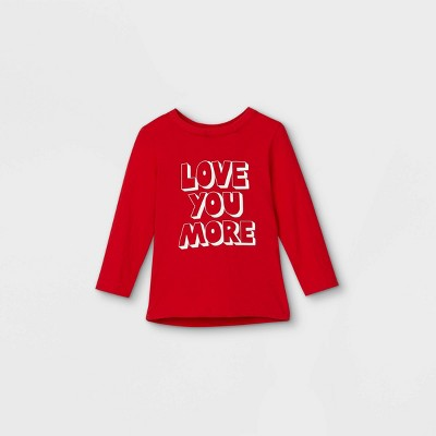 Toddler Boys' Valentine's Day 'Love You More' Graphic Long Sleeve T-Shirt - Cat & Jack™ Red
