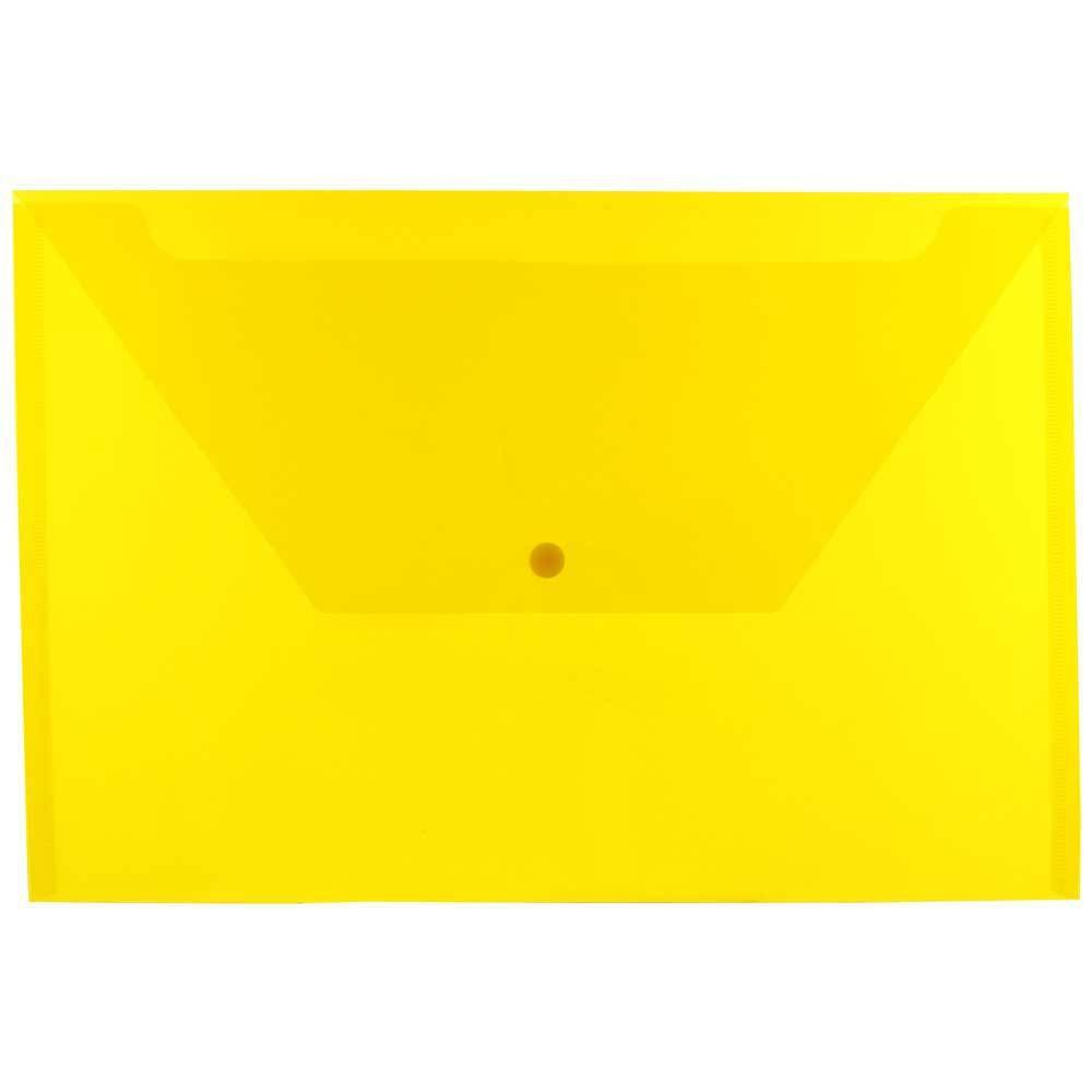 Jam Paper 9 3/4'' x 14 1/2'' 12pk Plastic Envelopes with Snap Closure, Legal Booklet - Yellow