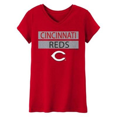 MLB Cincinnati Reds Girls' V-Neck Core T-Shirt