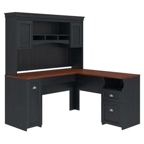 Fairview L Shaped Desk With Hutch, Black Corner Computer Desk With Hutch