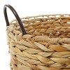 Olivia & May Set of 3 Large Oval Braided Wicker Storage Baskets with Metal Handles Natural - image 4 of 4