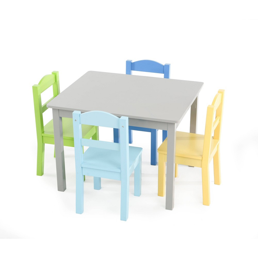 Image of 5pc Elements Kids Wood Table and 4 Chairs Set Gray - Humble Crew
