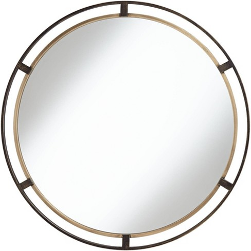 """Uttermost Crest Bronze and Gold 34"""" Round Wall Mirror - image 1 of 4"""