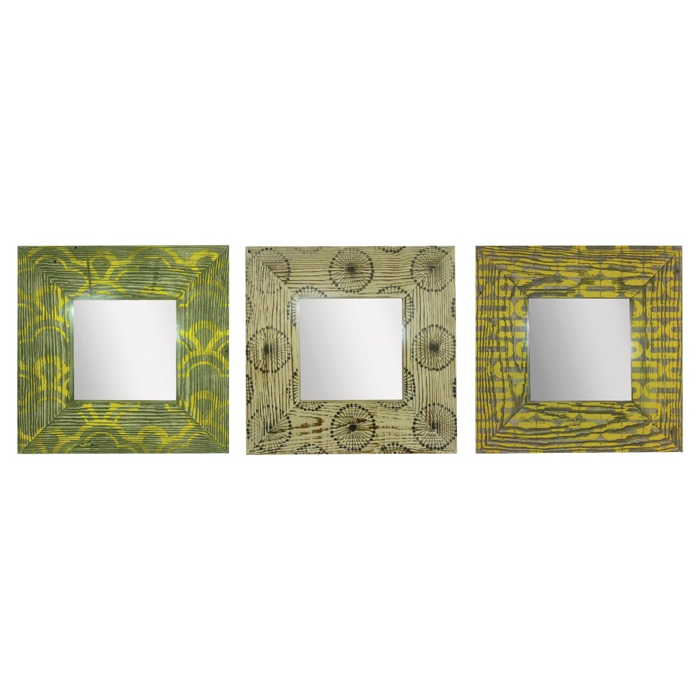 Square Silkscreened Rustic Wood Mirror Set of 3 - Ptm Images, Assorted