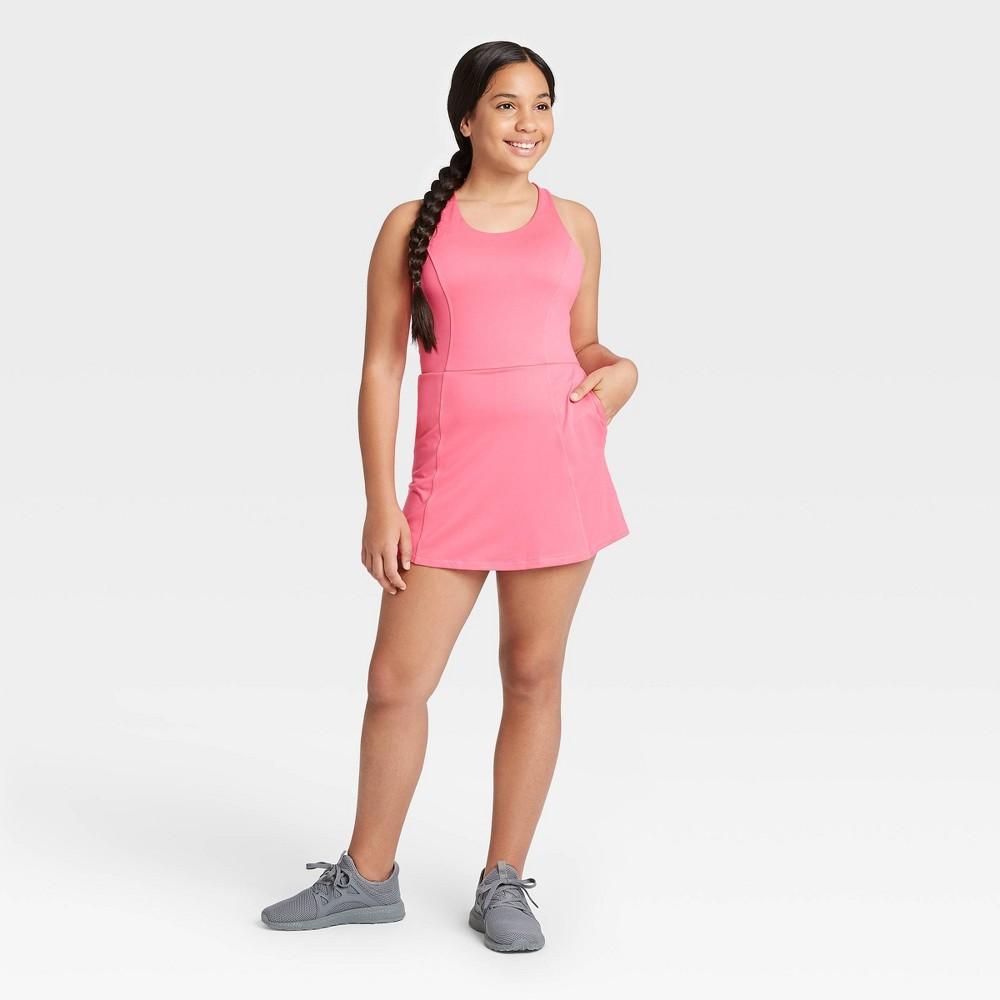 Image of Girls' Criss Cross Back Tennis Dress - All in Motion Fuchsia M, Girl's, Size: Medium, Pink
