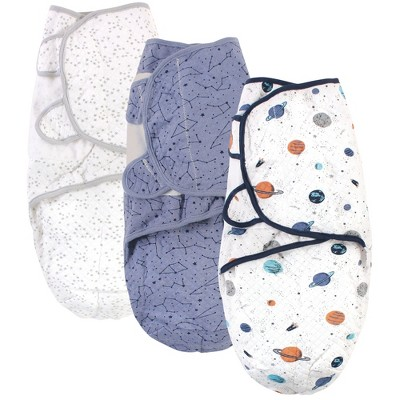 Hudson Baby Infant Boy Quilted Cotton Swaddle Wrap 3pk, Space, 0-3 Months