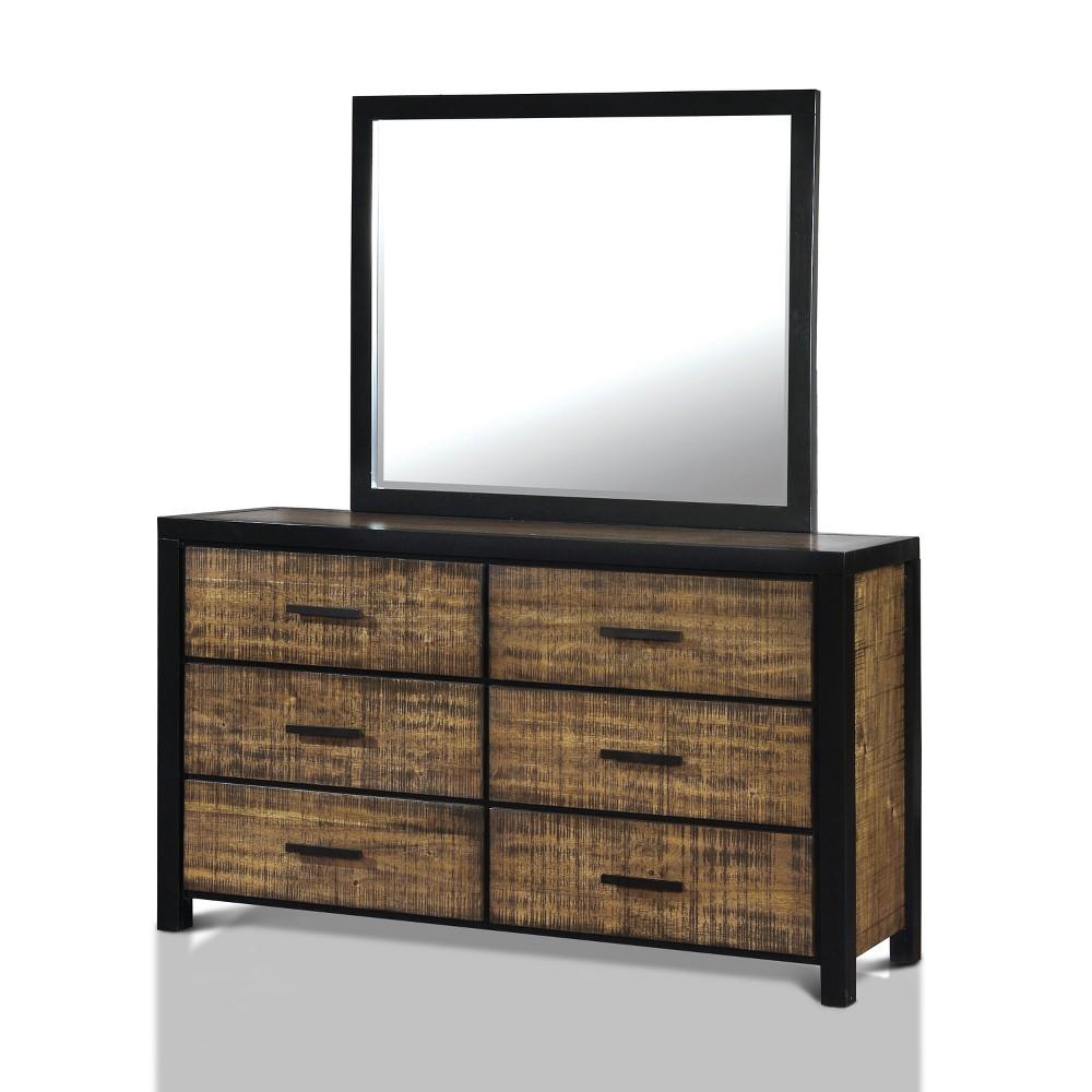 Sun & Pine Anton Transitional Two-Tone Panel Dresser And Mirror Set