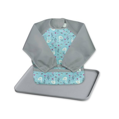 green sprouts Baby Meal & Playtime Set Long Sleeve Bibs Platemat Gray/Aqua - 2pc