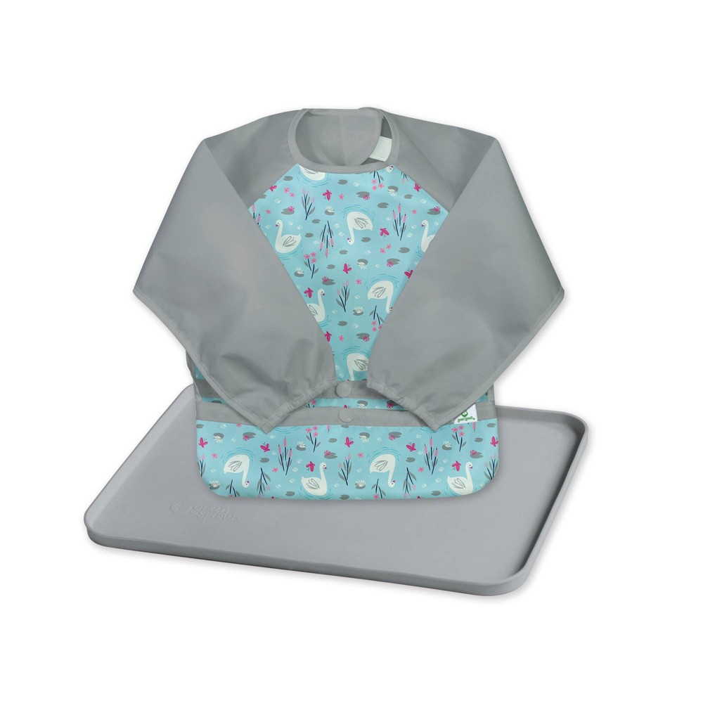 Image of Green Sprout Baby Meal & Playtime Set Long Sleeve Bibs Platemat Gray/Aqua - 2pc