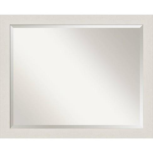 31 X 25 Rustic Plank Narrow Framed Bathroom Vanity Wall Mirror White Amanti Art