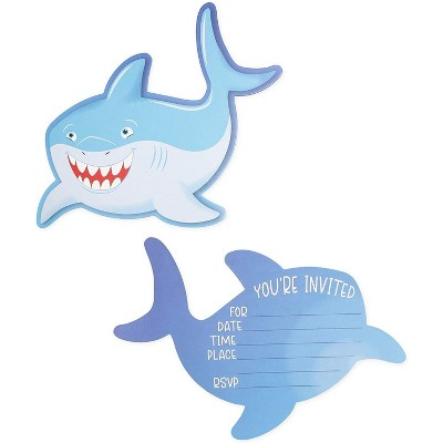36-Pack Shark Birthday Party Invitations with Envelopes, Fill-in Invitation Cards for Boys, 5 x 7 inches