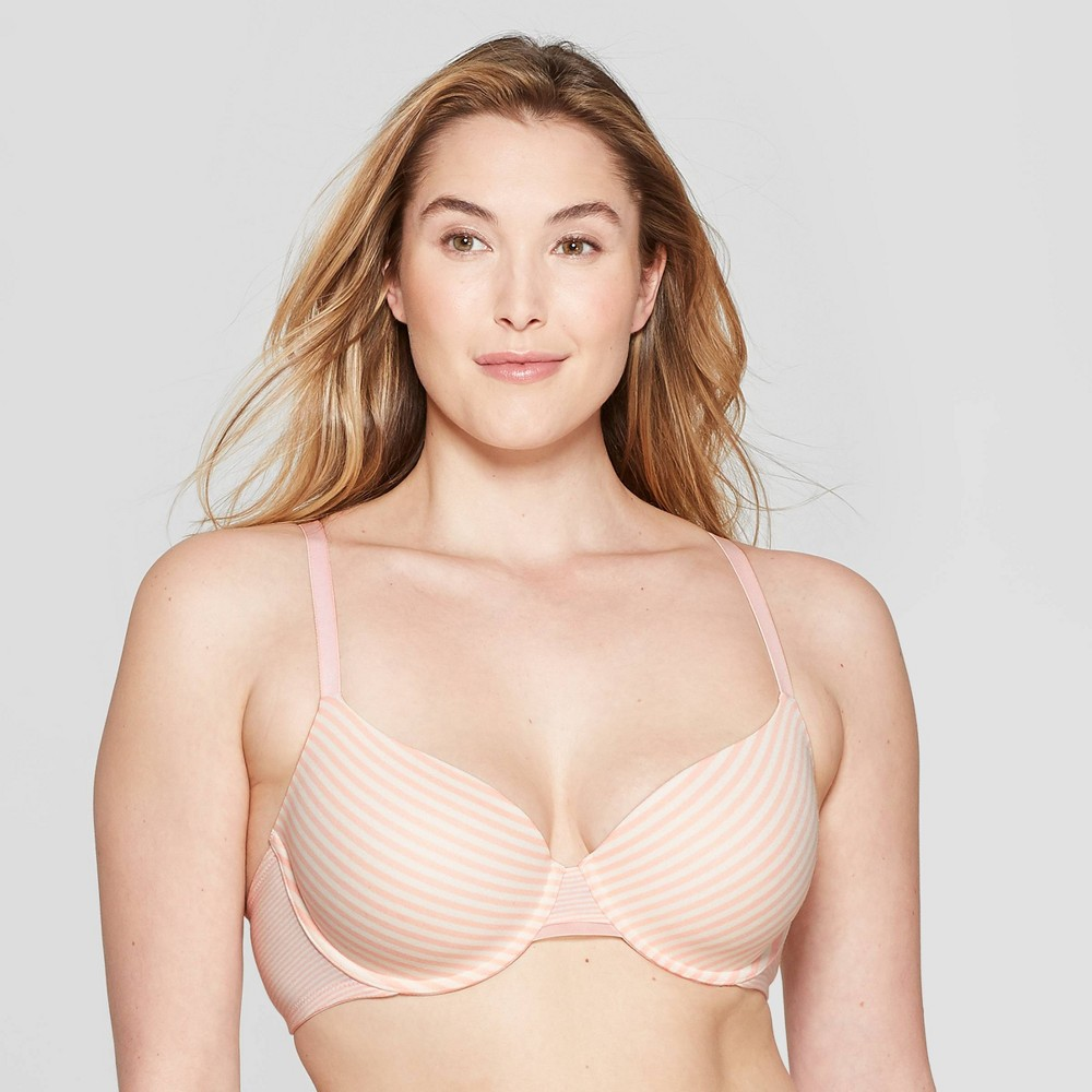 Women's Striped Everyday Lightly Lined Cotton Demi T-Shirt Bra - Auden Casual Pink 38C, Casual Pink Striped