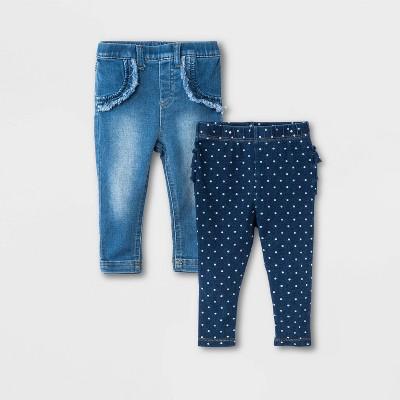 Baby Girls' 2pk Bundle Jeans - Cat & Jack™ Denim Blue 0-3M