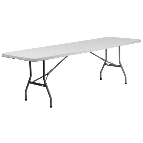 Flash Furniture 8-Foot Bi-Fold Granite White Plastic Banquet and Event Folding Table with Carrying Handle - image 1 of 4