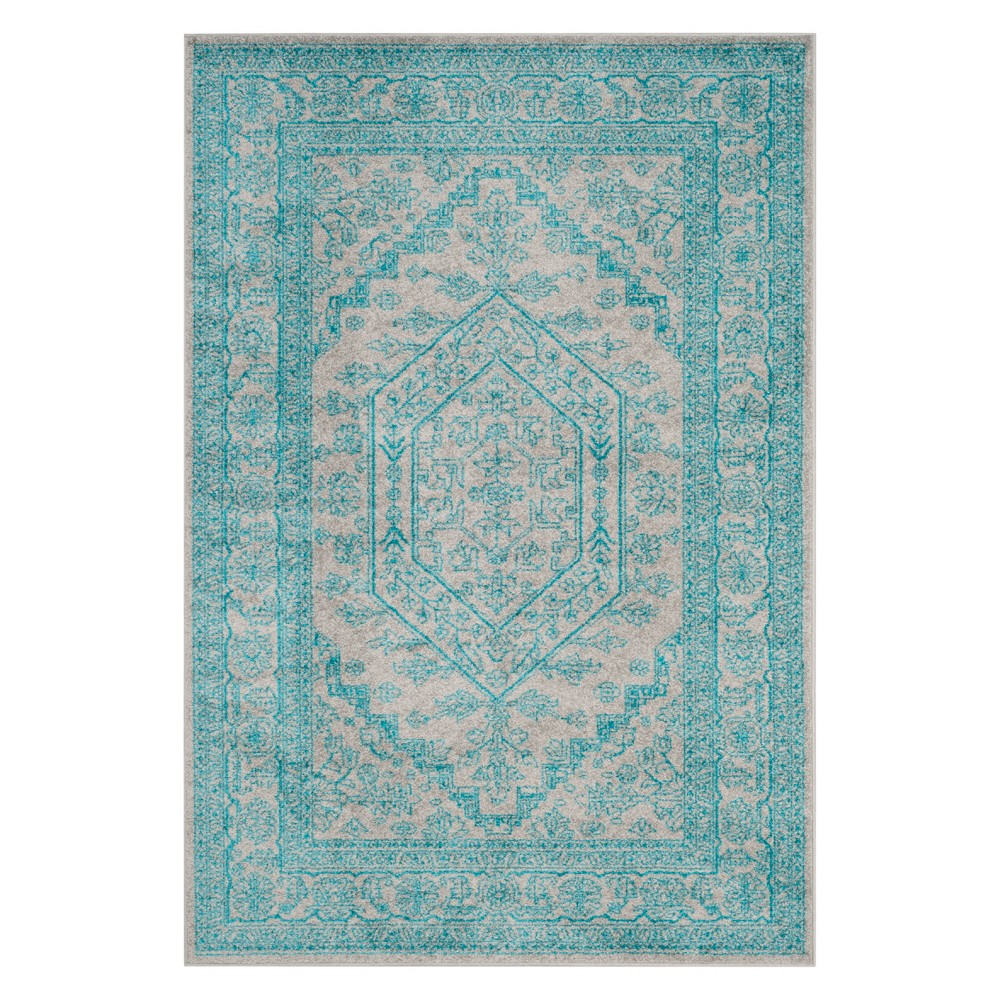 6'X9' Medallion Area Rug Light Gray/Teal (Light Gray/Blue) - Safavieh