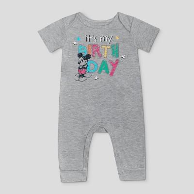 Baby Boys' Disney Birthday Mickey Romper - Gray
