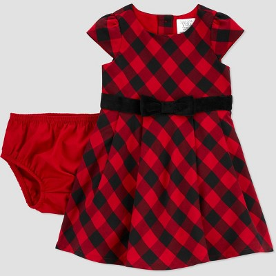 Baby Girls' Buffalo Plaid Sleeveless Dress with Diaper Cover - Just One You® made by carter's Red 6M