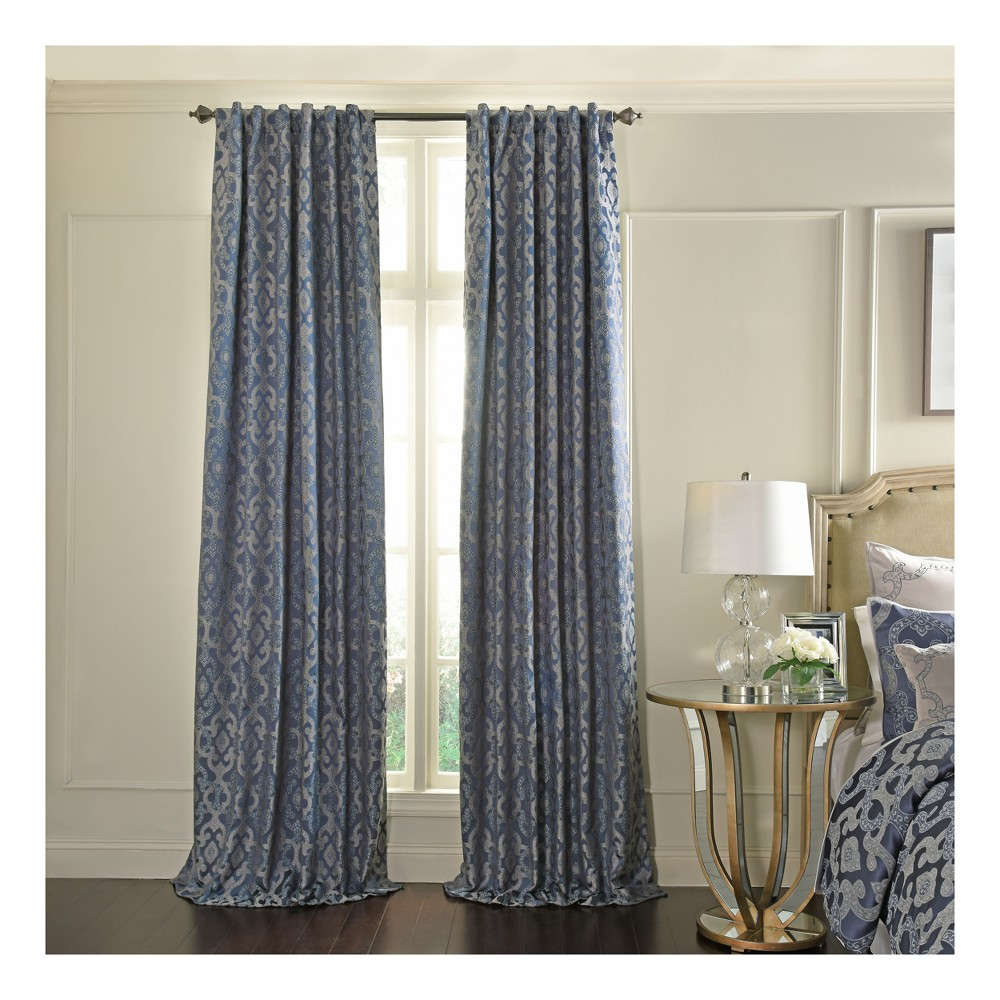 Normandy Blackout Window Curtain Lapis/Trellis 52x84 - Beautyrest