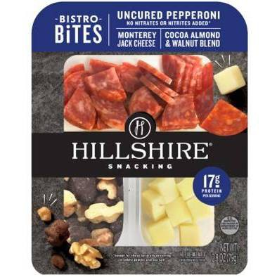 Hillshire Farm Snacking Bistro Bites with Pepperoni, Monterey Jack, Walnut & Cocoa-Coated Almond Mix - 2.8oz