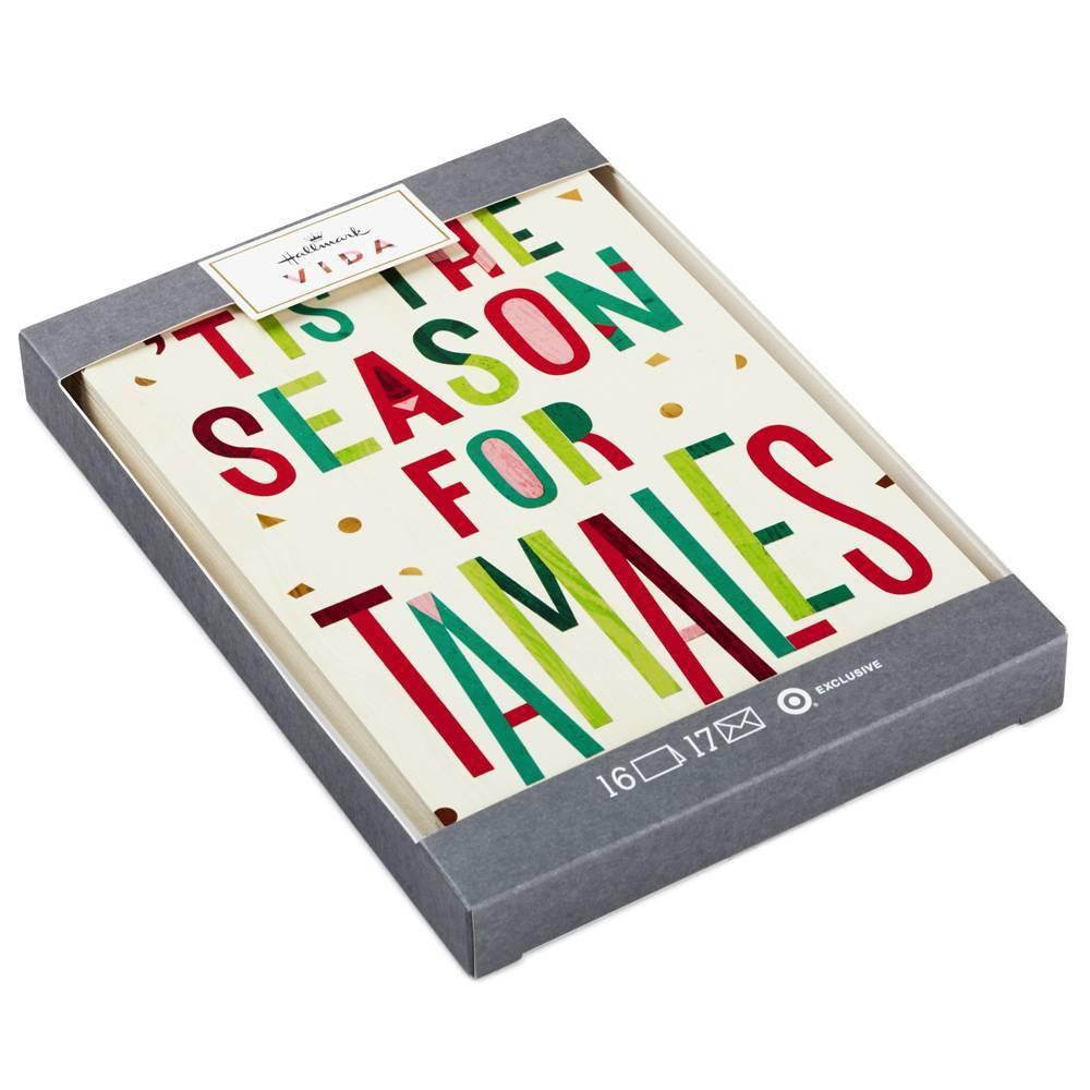 Image of 16ct Hallmark 'Tis the Season for Tamales Christmas Greeting Cards