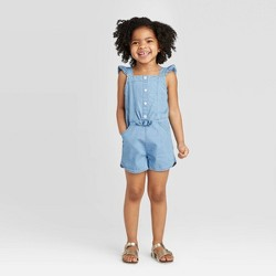 Toddler Girls' Chambray Romper - Cat & Jack™ Blue