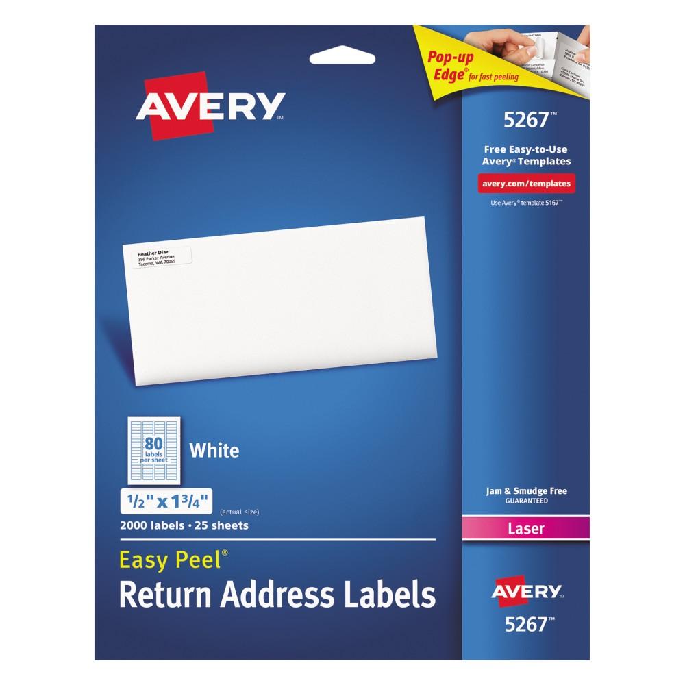 Avery 1/2 x 1-3/4 Laser Easy Peel Address Labels - White (2000 Per Pack)