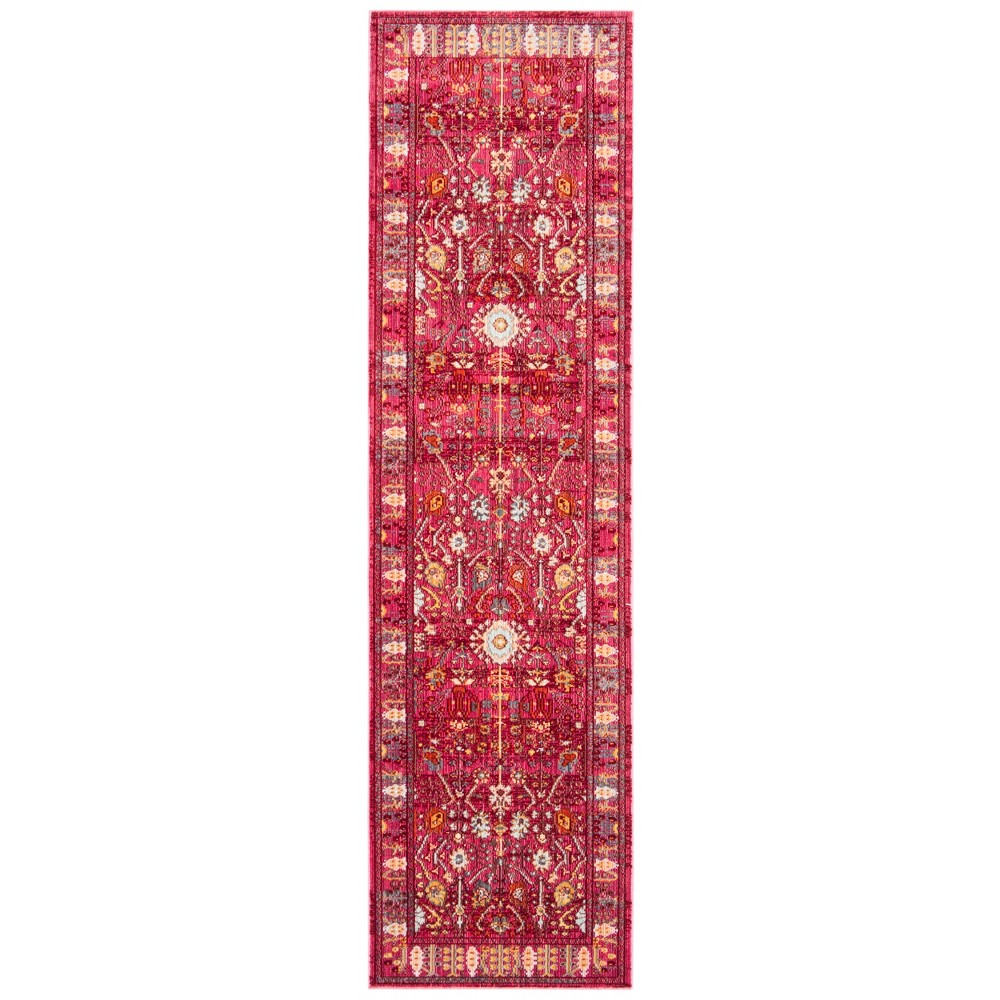2'3X12' Loomed Floral Runner Rug Fuchsia - Safavieh, Pink/Multi-Colored