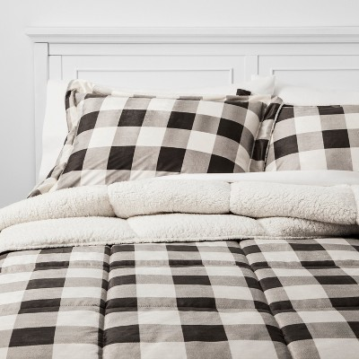 3pc King Billie Plaid Mink Comforter Set Gray