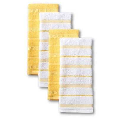 "KitchenAid 4pk 16""X26"" Albany Strpe Kitchen Towels Yellow/White"