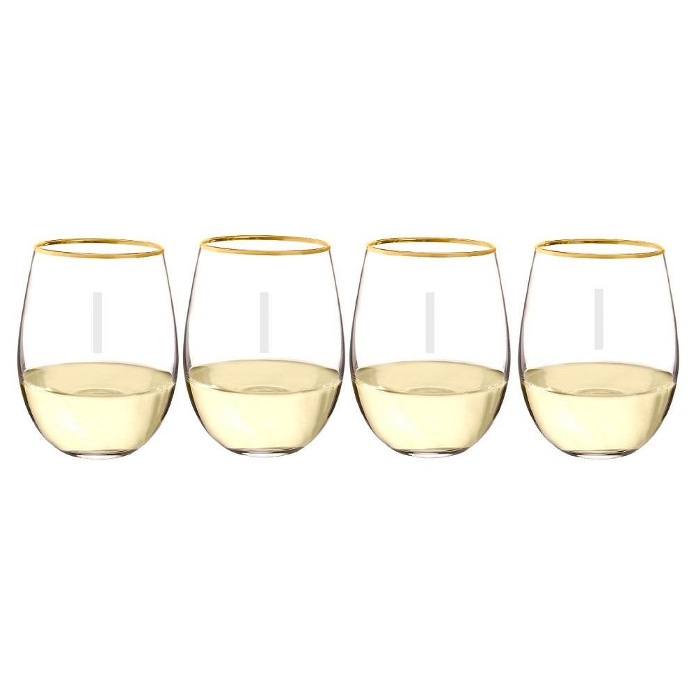 Cathy's Concepts 19.25oz Monogram Gold Rim Stemless Wine Glasses I - Set of 4, Clear Gold