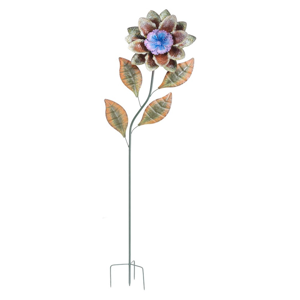 """Image of """"12"""""""" x 60"""""""" Iron Large Flower Garden Stake Blue/Brown - Sunjoy, Multi-Colored"""""""