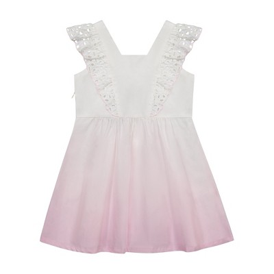 Andy & Evan  Toddler Poplin Ombre Eyelet Sleeve Dress