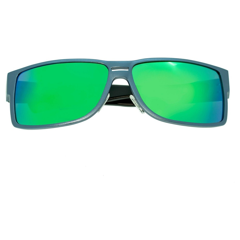 Image of Breed Men's Stratus Polarized Sunglasses with Aluminum Frame and Arms - Blue/Green, Size: Small, Silver/Blue/Green