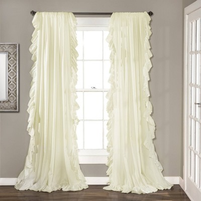 "95""x54"" Reyna Window Curtain Panel Ivory - Lush Décor"